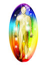 Human aura silhouette of mans body surrounded by multicoloured vector Royalty Free Stock Images