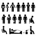 Human body support equipment injury pain a set of pictograms representing supporting for due to and Royalty Free Stock Images