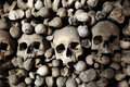 Human bones and skulls in Sedlec Ossuary near Kutna Hora. Royalty Free Stock Photo