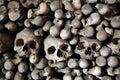 Human bones and skulls in Sedlec Ossuary near Kutna Hora. Royalty Free Stock Photo