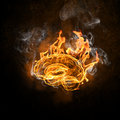 Human brain in fire Royalty Free Stock Photo