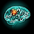 Human brain illustration of with cogwheel mechanisms Royalty Free Stock Image