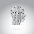 Human circuit over gray background vector illustration Stock Photos