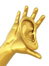 Human ear and hand gold d render symbol isolated clipping path Royalty Free Stock Photos