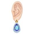 Human ear & hanging earring