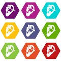 Human ear with piercing icon set color hexahedron Royalty Free Stock Photo