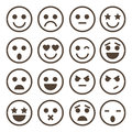 Human emotion icons, mono vector symbols. Royalty Free Stock Photo