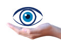 Human eye in hand a on white Royalty Free Stock Images