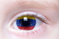 Human eye with national flag of venezuela