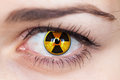 Human eye with radiation symbol hazard concept photo Stock Photos