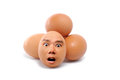 Human face egg closeup group of fresh eggs with real Royalty Free Stock Photography
