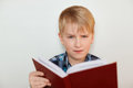 Human face expressions and emotions. Children and education. A close-up of attractive little boy with fair hair reading a book bei Royalty Free Stock Photo