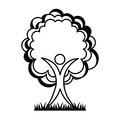 Human figure with tree plant ecological icon