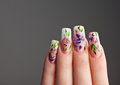 Human fingers with beautiful spring manicure over gray background Royalty Free Stock Image