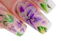 Human fingers with beautiful spring manicure over white background Royalty Free Stock Photos