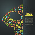 Human food icon in infographic background layout design, create