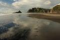 Human footprints on karekare beach in new zealand Stock Photos
