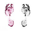 Human footprints on white