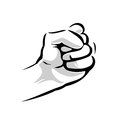 Human hand with a clenched fist. Vector black vintage engraved illustration isolated on a white background. Hand sign for web, pos Royalty Free Stock Photo