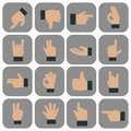 Human Hand collection, different hands, gestures, signals and signs. Vector icon set