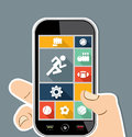Human hand mobile colorful sports ui apps flat ico workout concept holds a smart phone applications graphic user interface icons Stock Photos
