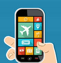 Human hand mobile colorful travel ui apps flat ico concept holds a smart phone applications graphic user interface icons set Royalty Free Stock Photos