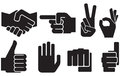 Human hand sign collection gesture silhouettes finger pointing symbol showing thumbs up like symbol okay fist symbol the victory Royalty Free Stock Photo