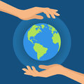 Human hands holding floating globe in space. Flat style vector i