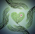 Human hands look like tree branches and hold tree heart, love nature concept, protect tree idea,