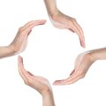 Human hands making a circle on white background Royalty Free Stock Photo