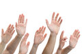 Human hands raised up close of several on white background Stock Images