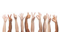 Human hands showing thumbs up, ok and peace signs Royalty Free Stock Photo