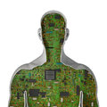 Human hardware d render of cross section of male figure showing circuit board inside Royalty Free Stock Photos