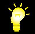 Human head as bulb, concept of problem solving Royalty Free Stock Photography