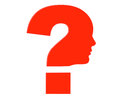 Human head as red question mark symbol on a white background Royalty Free Stock Photo