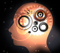 Human head with brain concepts and gears in progress concept of thinking Stock Images