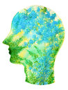 Human head, chakra power, inspiration abstract thinking thought