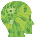 Human Head Go Green Light Bulb Royalty Free Stock Image