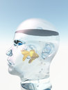 Human head gold fish aquarium Stock Image