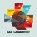 Human head - infographic concept - creative vector scheme. Geometric triangles structure. Royalty Free Stock Photo