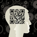 Human head with the QR-Code Royalty Free Stock Photos
