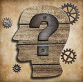 Human head with question mark concept silhouette Stock Images