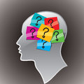 Human head with question mark symbol. Stock Photos