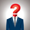 Human head with question mark symbol. Royalty Free Stock Photo