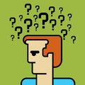 Human head with question mark symbol Royalty Free Stock Images