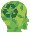 Human Head with Recycle Symbol Illustration Stock Images