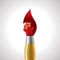Human head thinking making from brush hairs illustration Stock Photos