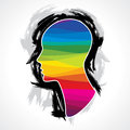Human head thinking making from brush stocks vector Stock Images