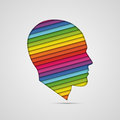 Human head thinking making from multicolor Stock Photography