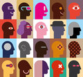 Human heads abstract vector illustration can be used as seamless wallpaper Royalty Free Stock Photography